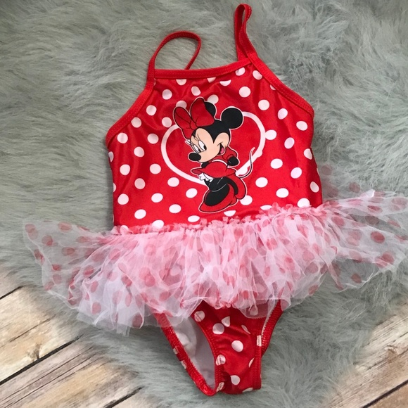 50a03b21bfa39 Disney Swim   Polka Dot Minnie Mouse Bathing Suit Red 24   Poshmark